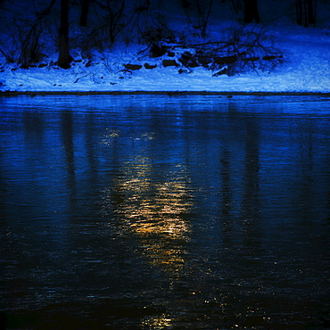 Icy water surface, Walden Pond, Concord, Massachusetts