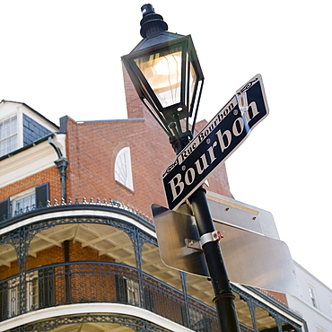 Low angle view of Bourbon Street sign, French Quarter, New Orleans, Louisiana, United States