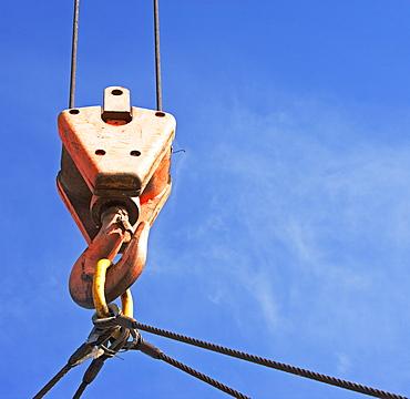 Close up of crane hook