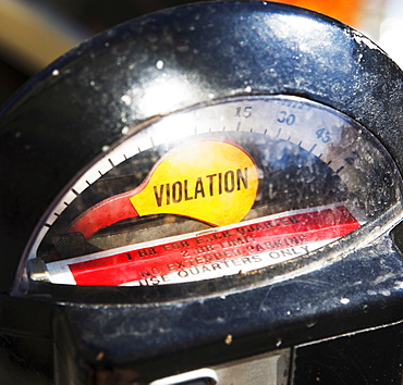 Close up of Violation on parking meter