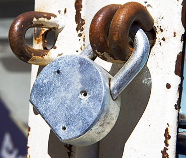 Close up of padlock