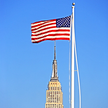 American flag over Empire State Building