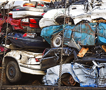crushed old cars