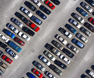 aerial veiw of cars in parking lot