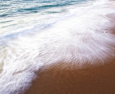 Blurred motion shot of ocean waves