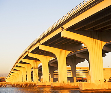 Low angle view of elevated highway over water