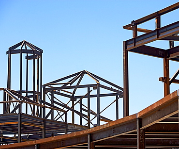 Steel beam frames at construction site