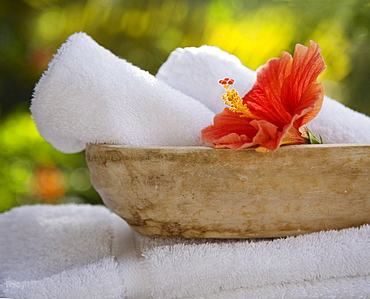 Bowl with rolled towels and flower