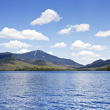 Scenic view of lake and mountain, Lake Placid, New York USA
