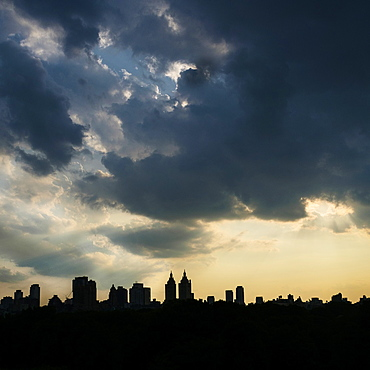 West Side of Manhattan, Silhouette of urban skyline at sunset