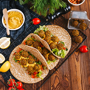 Falafel wraps with ingredients