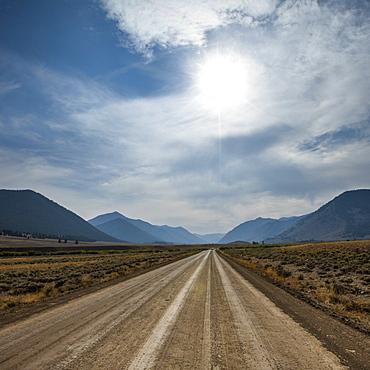 Dirt road through Sun Valley, Idaho, USA