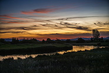 River at sunset in Picabo, Idaho, USA