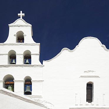 Building facade and church bells, Mission San Diego de Alcala, San Diego, California, United States