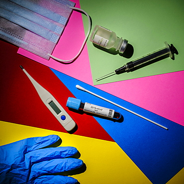 Colorful graphic layout of medical items