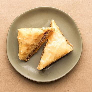 Baklava dessert on plate