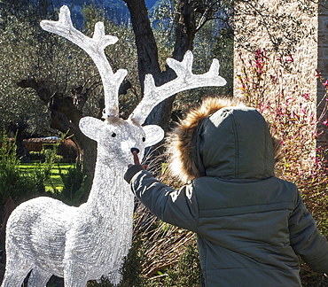 Boy touching artificial reindeer nose