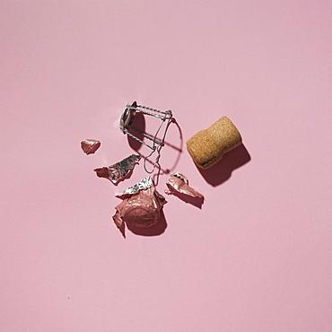 Studio shot of Champagne cork on pink background