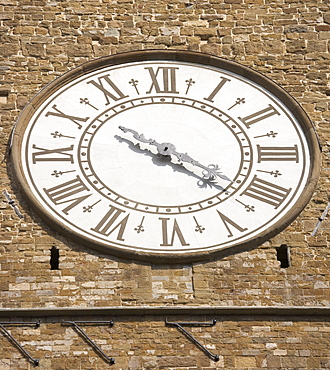 Clock face of the Palazzo Vecchio Florence Italy