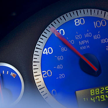 Close-up of speedometer
