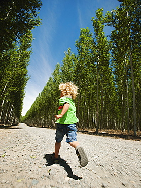 Boy (2-3) running up country road