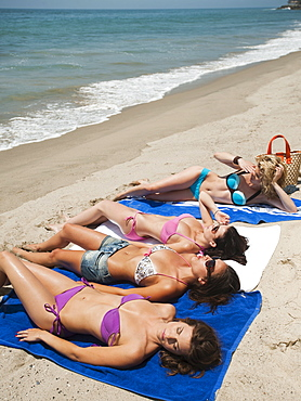 Group of young attractive women sunbathing on sandy beach