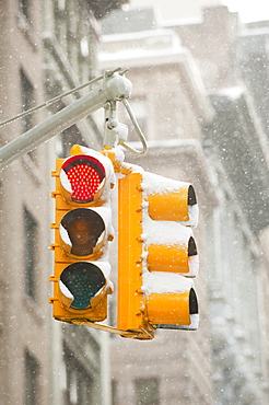 USA, New York, New York City, Snow covered traffic lights