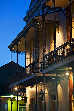 Balconies at night in French Quarter of New Orleans