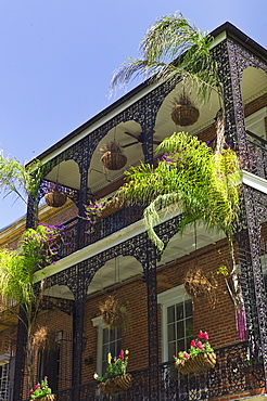 Ornate balconies on building in New Orleans