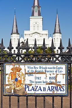 Gate in front of the Plaza D Armas in New Orleans