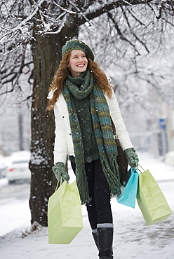 Woman shopping on a winter day