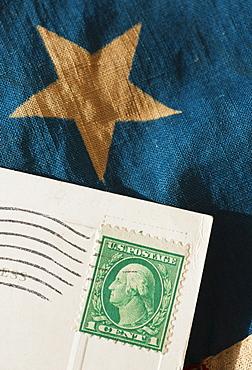 Postcard on American flag