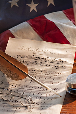Sheet music on American flag