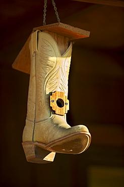 Cowboy boot bird house