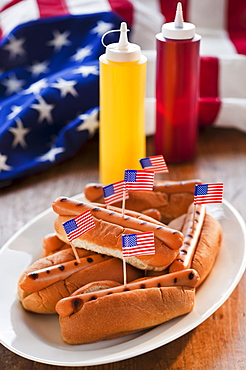 American flags in hot dogs