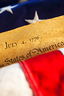 Declaration of Independence of top of American flag