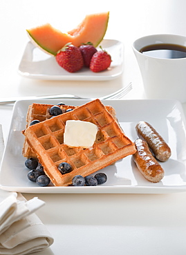 Studio shot of Waffles with fruits