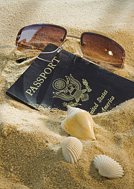 United States passport, sunglasses, and seashells