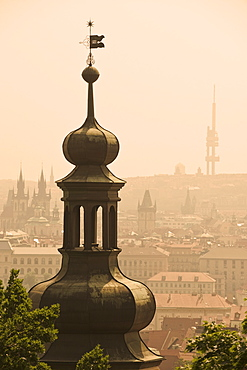 Architectural tower and city