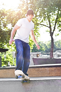 Young man skateboarding