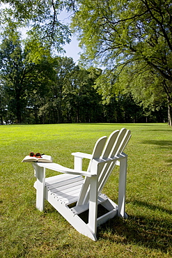 Adirondack chair on lawn