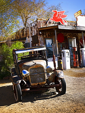 Antique truck at general store in the American west