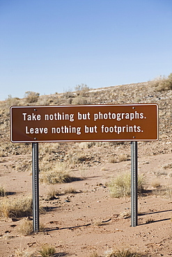 Conservation sign in Arizona desert