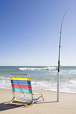 Beach chair and fishing rod