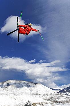 Skier jumping, Aspen, Colorado, USA