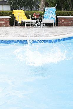 Big splash in swimming pool
