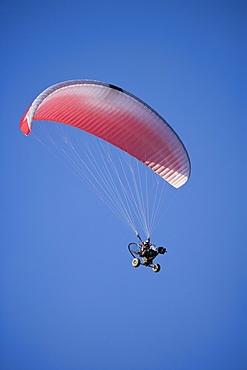 Low angle view of paraglider in air