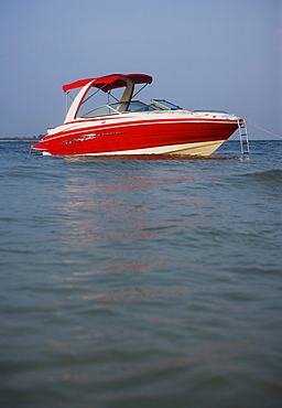 Surface shot of boat in water, Florida, United States