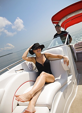 Couple relaxing on boat, Florida, United States