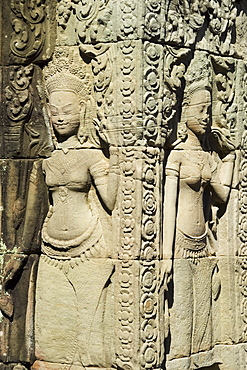 Carvings at ancient temple Angkor Wat Cambodia Khmer